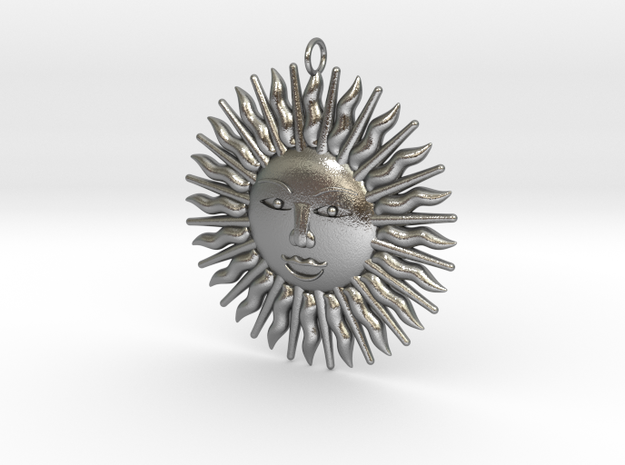 Sonne_5cm in Natural Silver
