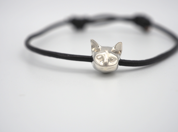 Cat Lady Friendship Bracelet Charm - Curious Cat in Polished Silver