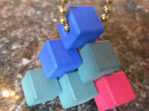 Three Piece Block 3d printed Dyed and hanging on a chain