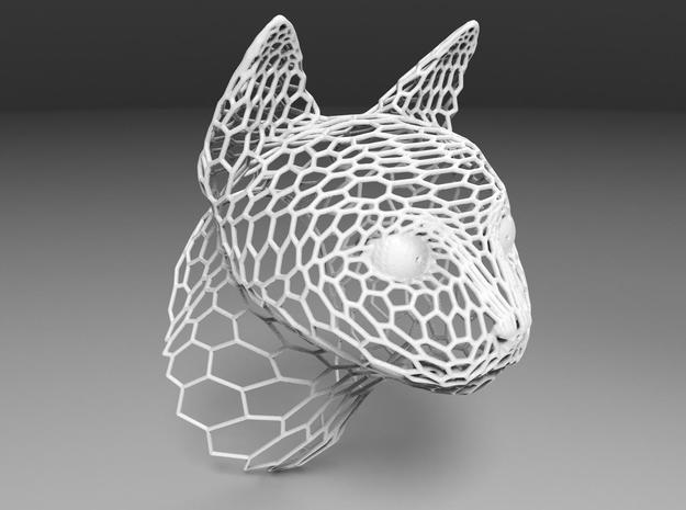 Voronoi Cat head in White Strong & Flexible