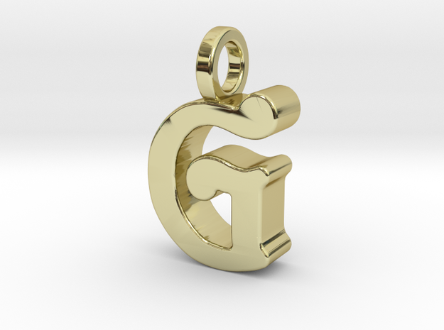 G - Pendant - 3 mm thk. in 18k Gold Plated Brass