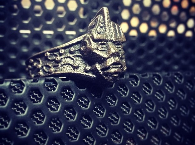 Neuromancer Avatar Ring (US Size 8) in Polished Grey Steel