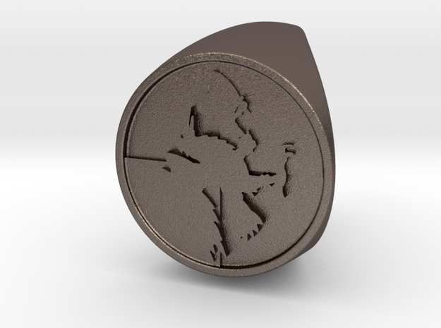 Custom Signet Ring 60 in Polished Bronzed Silver Steel
