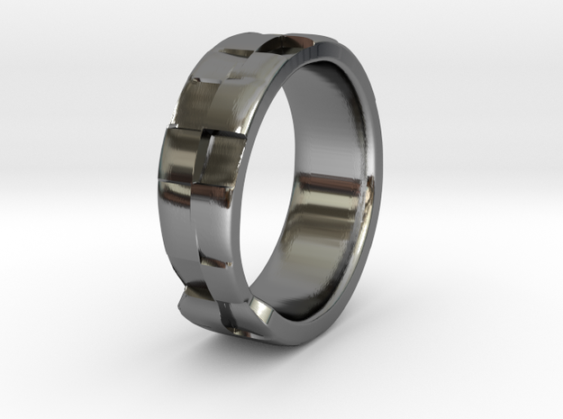 Square Textured & Tapered Ring in Fine Detail Polished Silver