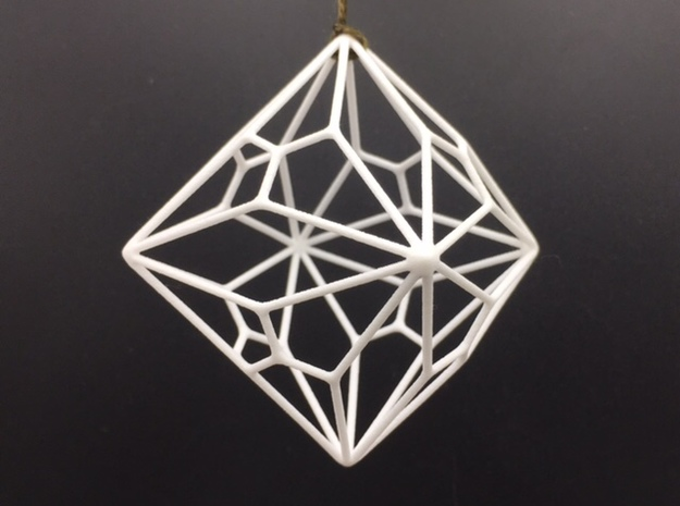 Polyhedron Ornament - Joined Truncated Cube in White Strong & Flexible Polished