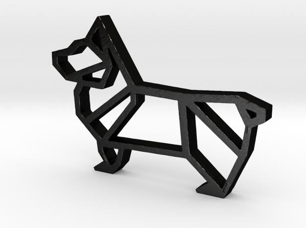 Adorable Corgi Pendant  in Matte Black Steel