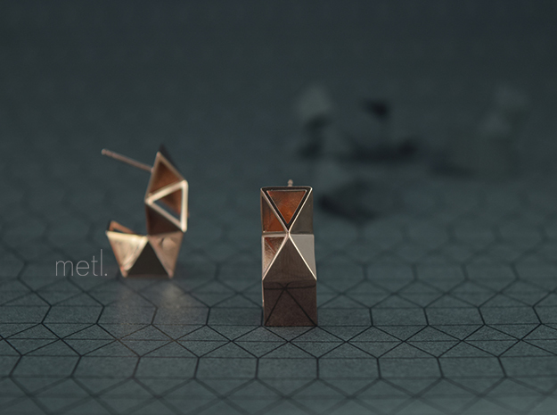 Earrings Under Construction in 14k Rose Gold Plated Brass