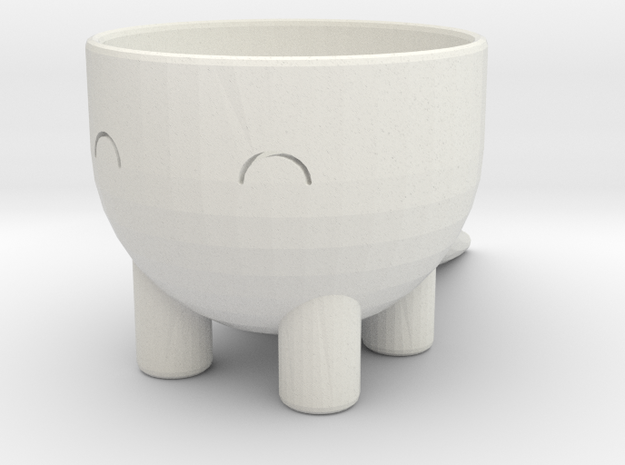 Dino Pot in White Natural Versatile Plastic