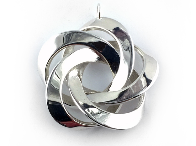 Pentator Pendant with loop in Polished Silver