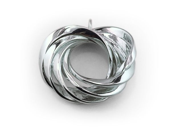 Coradeciem pendant with loop in Polished Silver