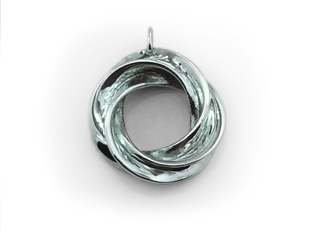 Roebius pendant with loop in Polished Silver