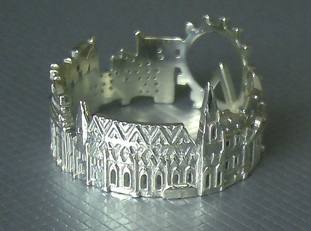 Vienna Skyline - Cityscape Ring in Polished Silver: 8 / 56.75