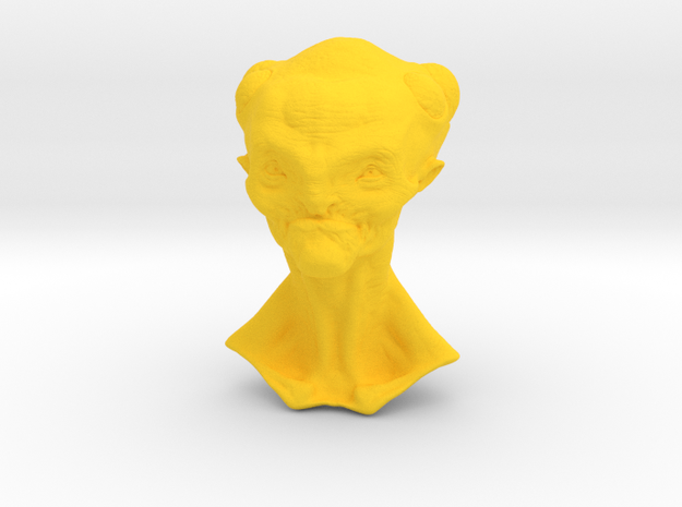 Granny Alien Bust  in Yellow Processed Versatile Plastic