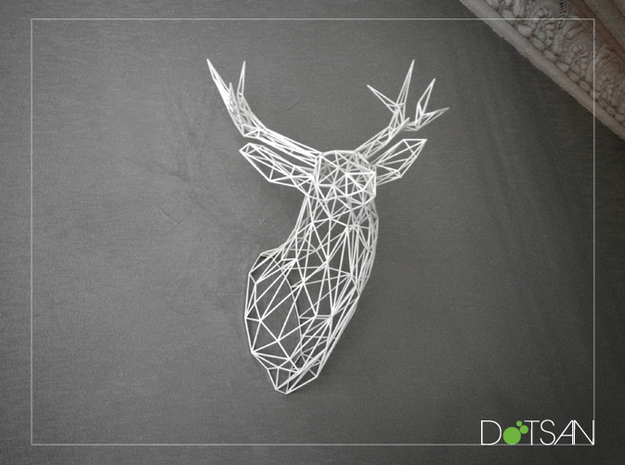 Original XL 3D Printed Stag Deer Polygon Trophy He in White Natural Versatile Plastic