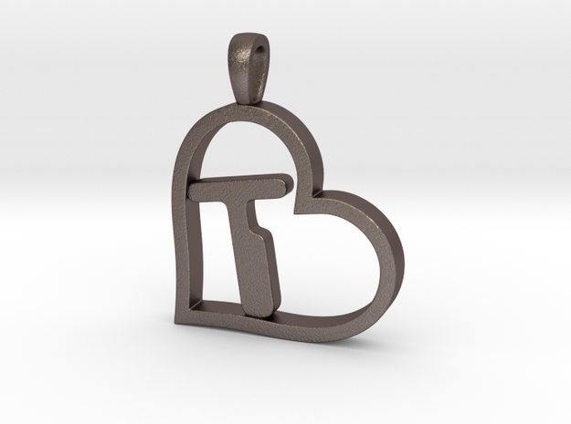 Alpha Heart 'T' Series 1 in Polished Bronzed Silver Steel