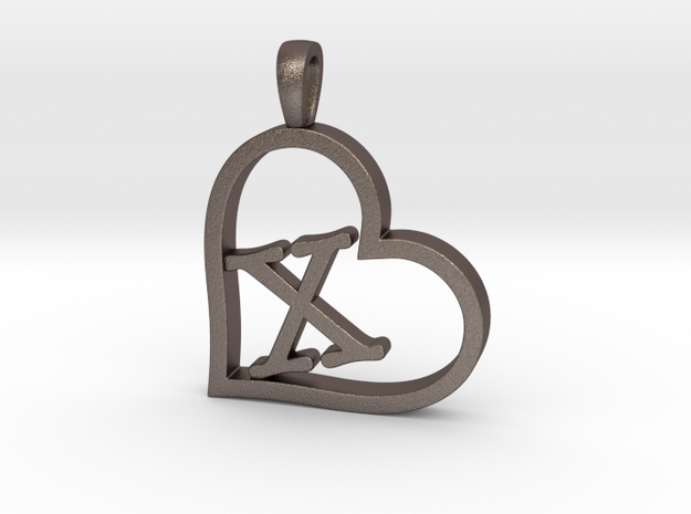 Alpha Heart 'X' Series 1 in Polished Bronzed Silver Steel