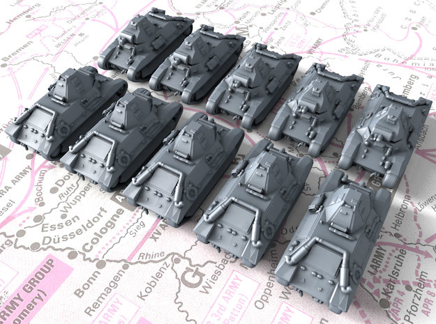 1/700 French FCM 36 Light Tank x10 in Smoothest Fine Detail Plastic