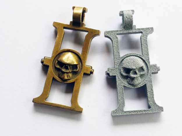 Inquisition Rosette key chain in Polished Bronze Steel