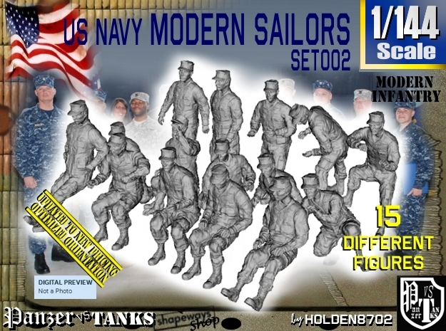 1/144 USN Modern Sailors Set002 in Frosted Ultra Detail