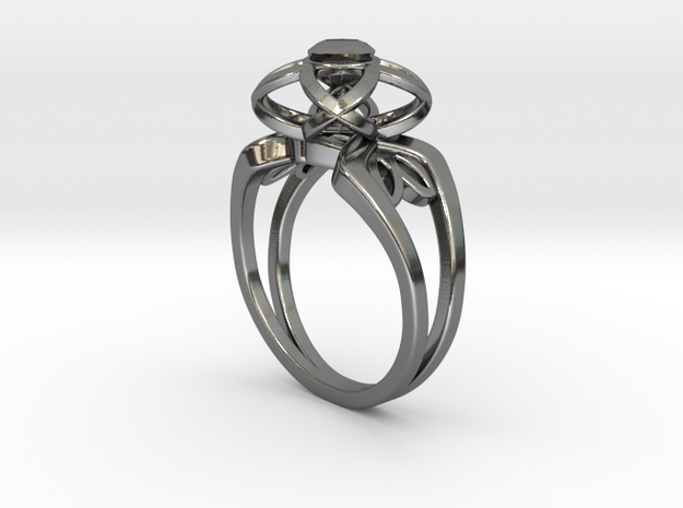 3-2 Enneper Curve Twin Ring (002) in Fine Detail Polished Silver