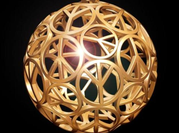 Peace Ball in Polished Bronzed Silver Steel