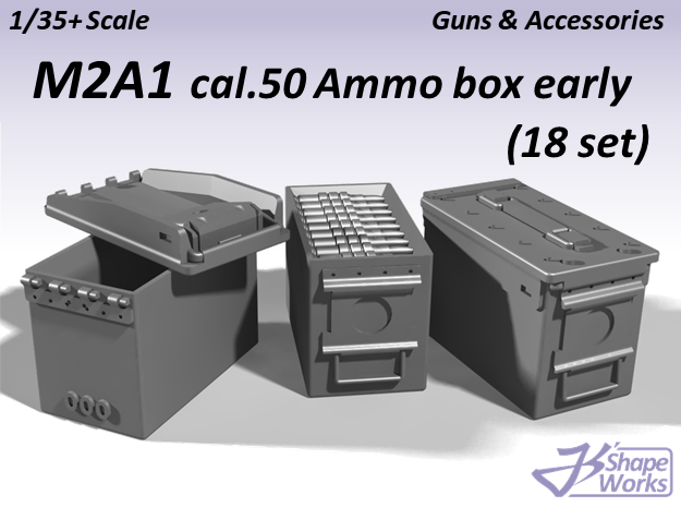 1/35+ M2A1 cal.50 Ammo Box Early type (18 set) in Smoothest Fine Detail Plastic: 1:35