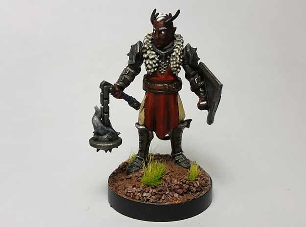 Tiefling Paladin (Modular) in Black Hi-Def Acrylate