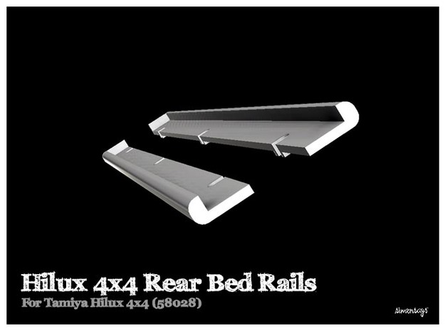 Simensays Hilux 4x4 Rear Bed Rails in White Processed Versatile Plastic