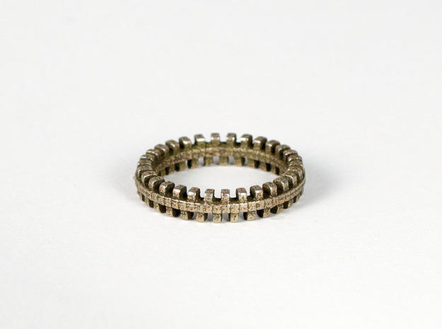 Tread Ring in Polished Bronzed Silver Steel: 7 / 54