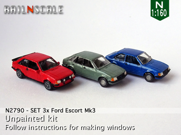 SET 3x Ford Escort Mk3 (N 1:160)