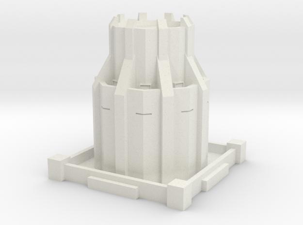 Alternative Steampunk Dystopian Defense Tower in White Natural Versatile Plastic