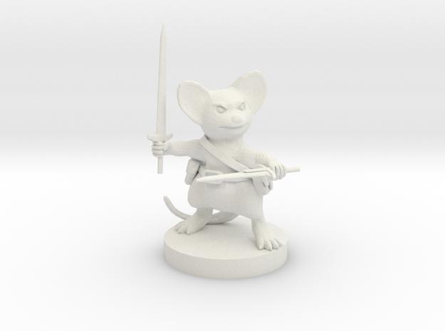Mousefolk Fighter in White Strong & Flexible