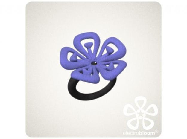 Lucy flower charm. 3d printed INDIGO LUCY FLOWER CHARM ON BLACK SNAP RING