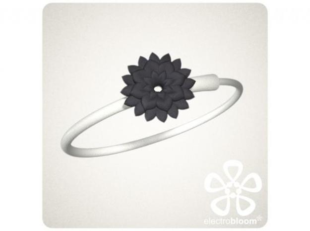 Betty flower charm. 3d printed BLACK BETTY FLOWER CHARM ON WHITE SNAP BANGLE