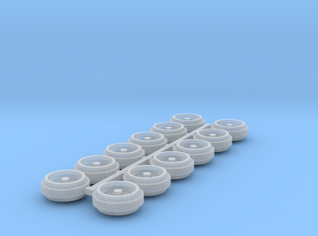 1/64 60s/70s Steel Rims (3 Sets) in Smooth Fine Detail Plastic