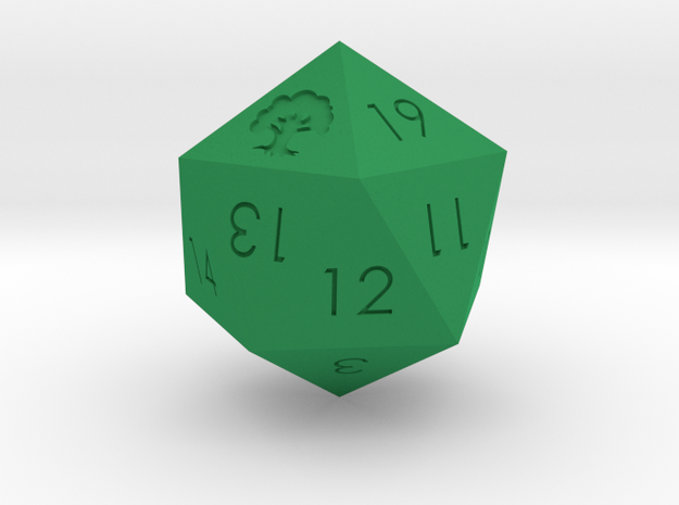 D20 Green Mana Symbol (MTG) in Green Strong & Flexible Polished: Medium