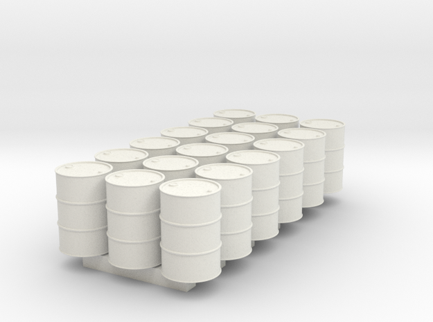 18 N scale oil drums in White Natural Versatile Plastic