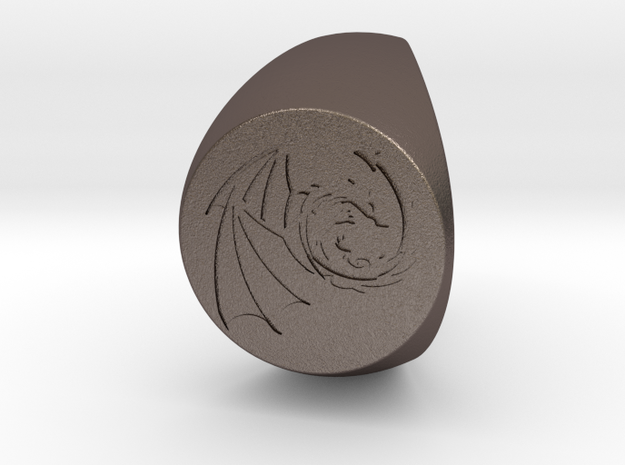 Custom Signet Ring 63 in Polished Bronzed Silver Steel