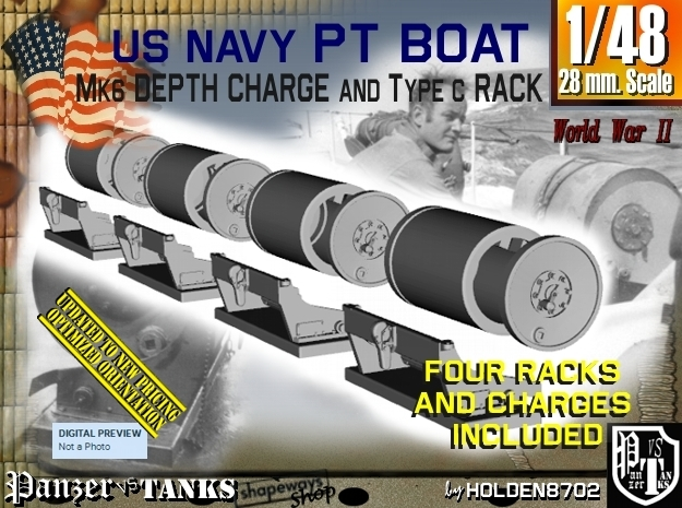 1/48 PT Boat Depth Charge w/ Rack Set001 in Frosted Ultra Detail