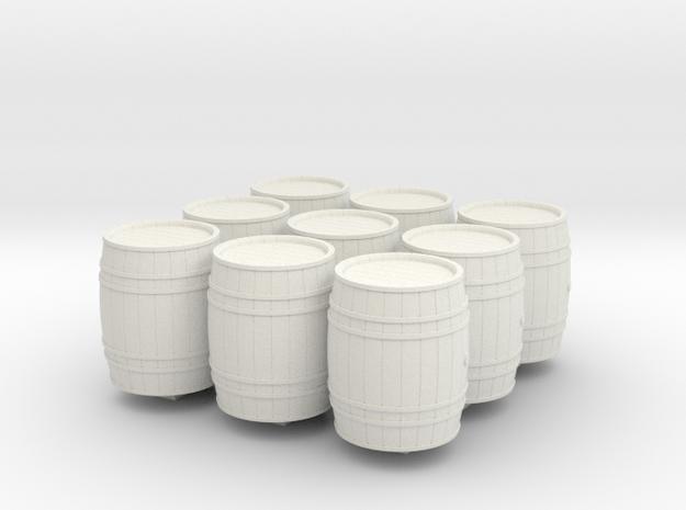 9 wooden barrels N scale