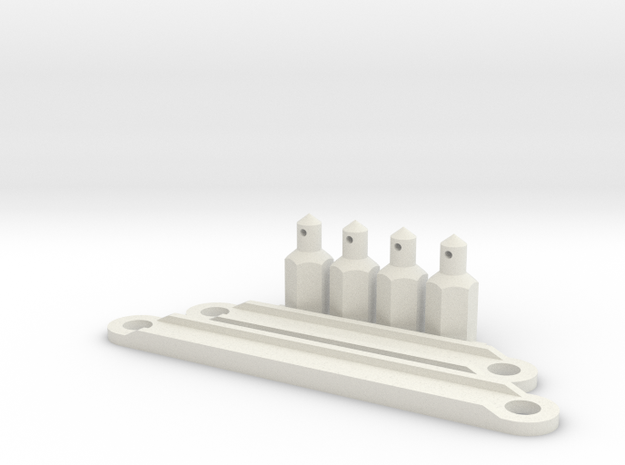 Battery Posts and Retainer in White Strong & Flexible