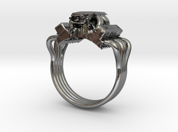 Chevy Corvette V8 Engine Ring  in Polished Silver