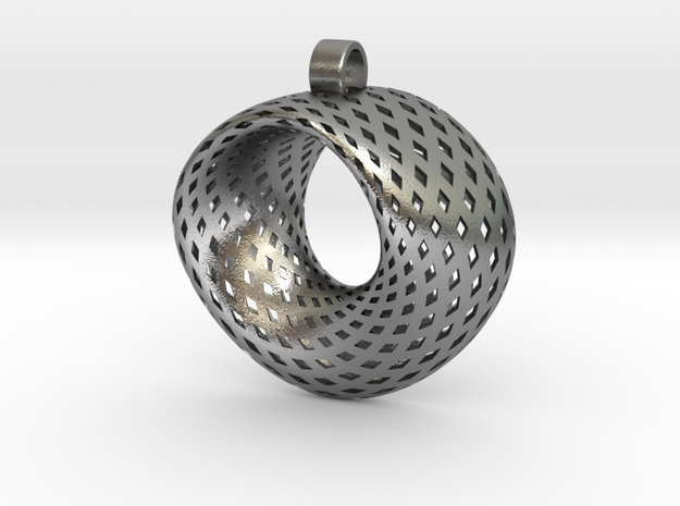 Möbius for pendant in Natural Silver