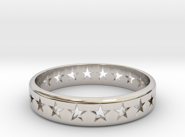 Stars Around (5 points, cut through, thick) - Ring in Rhodium Plated Brass: 7 / 54