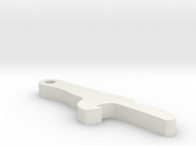 Bottle opener keychain in White Strong & Flexible