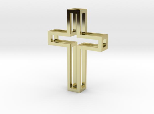 Frame Cross Pendant in 18k Gold Plated
