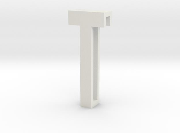 Choker Slide Letters (4cm) - Letter T in White Natural Versatile Plastic