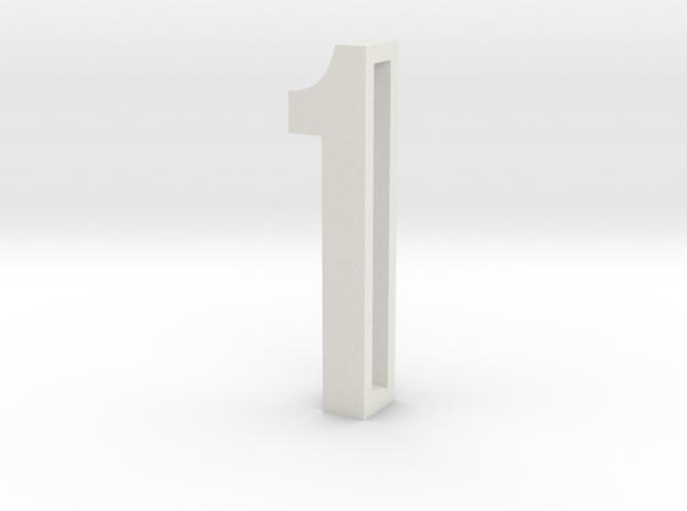 Choker Slide Letters (4cm) - Number 1 in White Natural Versatile Plastic