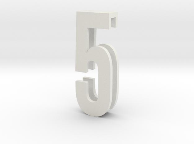 Choker Slide Letters (4cm) - Number 5 in White Natural Versatile Plastic