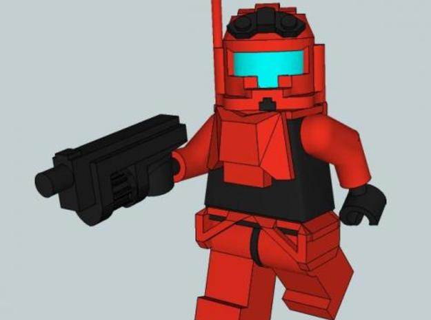 Space Trooper Armor set 3d printed Painted Red, with Lego Minifigure